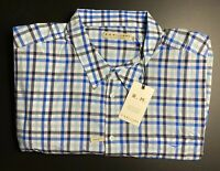 RM Williams Mens Shirt Collins Long Sleeve Blue White Black Check Size 4XB BNWT