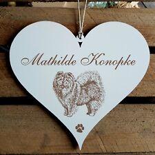 Personalisiertes Schild Herz « CHOW CHOW » Name Türschild Hund Hunde Dekoration