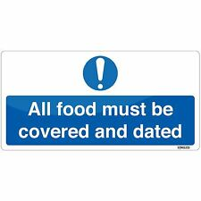 All Food Covered & Dated Sign 20x10cm Kitchen Safety Sticker Self-adhesive Vinyl