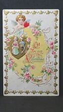 Vintage Valentine Series Post Card O Be My Valentine Cupid, Couple, Hearts