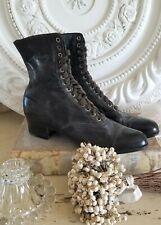 vintage black boots antique shoes Victorian style Edwardian