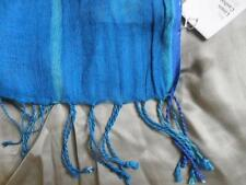 NWT EILEEN FISHER Airy Linen Wool Cashmere Scarf CRYSTAL BLUE Turquoise 78X26