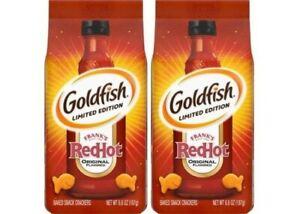 PEPPERIDGE FARM GOLDFISH LIMITED EDITION FRANK'S RED HOT CRACKERS 6.6 OZ BAG X2