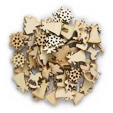 50pcs Christmas Wooden Chips fit Scrapbooking Handmade Home Craft Decor 20-22mm