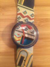 Rare Pop Swatch Vintage Watch , Original Leather Strap