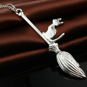 1PC Punk Magic Broom With Cat Pendant Necklace For Women Fashion Silver Color