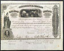 CINCINNATI & CHICAGO RAILROAD CO. Stock 1854. IN. Caleb Blood Smith Signature VF