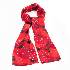 Red Tone Reindeer Satin Stripe Christmas Novelty Christmas Scarf Winter Wear