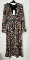ZARA V-NECK PAISLEY PRINTED MIDI FLOWING DRESS WITH SHOULDER PADS SIZE M BNWT