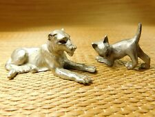 """2 Lead Feline Figurines/Red Eyes 2 5/8""""X1 1/3"""" Other One 1 1/8X 1 1/2"""""""