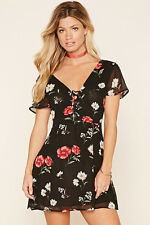 NWT FOREVER 21 Floral Chiffon V Neck Lace Up Keyhole Fit & Flare Skater Dress M