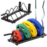 Horizontal Weight Barbell Rack Olympic Bumper Bar Holder │ Weight Plate Storage