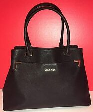 CALVIN KLEIN Large Black Saffiano Leather Tote/ShoulderBag/Handbag Gold Hardware