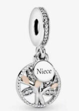 💎🎀 STERLING SILVER 925 NIECE FAMILY TREE DANGLE PENDANT CHARM & POUCH