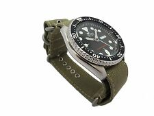 "Men's ZULU 4 Ring Strap 22mm Reinforced CANVAS ""Military Green"" For Seiko Diver"