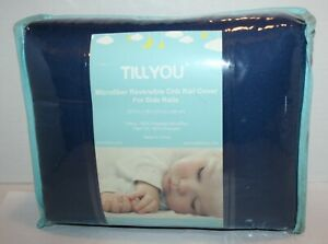 TILLYOU Microfiber Reversible Crib Rail Protector Cover Side Rails Navy/Gray 2pc