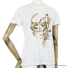 Alexander McQueen White Gold Tone Thread Skull Embroidered T-Shirt Top IT40 UK8