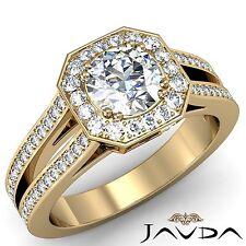 Fine Round Diamond Halo Pre-Set Engagement Ring GIA G VS2 18k Yellow Gold 2.46ct