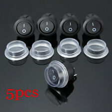 5x ON-OFF 2 PIN SPST Round Dot Car Boat Rocker Toggle Switch+Waterproof Cover