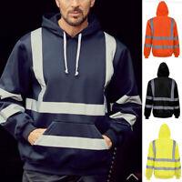 M-3XL Hi-Viz Vis High Visibility Jacket Hoodie Work Zip Hooded SweatShirt Safety