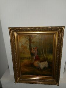 19th century oil painting,{ Pretty woman with her goat, signed, great frame! }.