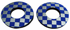 Anodized Flite old school BMX bicycle grip foam donuts CHECKERBOARD BLUE SILVER
