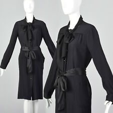 L 1990s Bottega Veneta Black Silk Dress Long Sleeves Pussybow Fabric Belt 90s