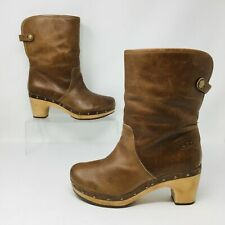 UGG Lynnea (Women's Size 8) Lined Pull-On Studded Leather Heel Boots Brown