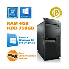 PC COMPUTER DESKTOP FISSO TOWER LENOVO M92P 4GB 750GB RS232 SERIALE COM WIN10-