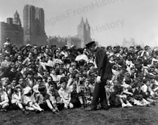 8x10 Print Police Officer Controls Crowd of Children Central Park NY 1939 #FTP