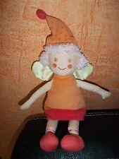 Doudou Katherine Roumanoff Poupée  Princesse Orange Rose Aile Jaune Vert Baudet