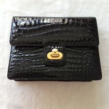 KWANPEN - ICONIC STYLE BLACK GENUINE CROCODILE SKIN HANDBAG with GOLD HARDWARE