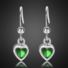 Vivid Jewelry Lady Heart Emerald 18K White Gold Plated Earring Stick Earings