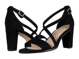 Women's Shoes Clarks KAYLIN 85 STRAP Dressy Sandal Heels 49250 BLACK SUEDE