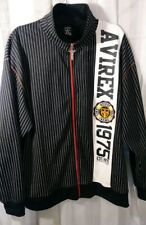 AVIREX Sweatshirt Full Zip Track Jacket XXL Black & white w/ Embroidery jersey