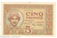 5 Francs Madagascar P-35-2 de 1937 a 1947 SPL  ( 060 )