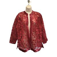 Chico's Velvet Floral Burnout Embroidered Jacket 3 XL Red With Pink Tones