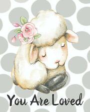 "Nursery Wall Art, Baby Nursery Print, Baby Lamb Nursery Wall Art Print 8x10"""