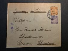 China cover to Germany w coiling dragon stamps small town postmarks read 02