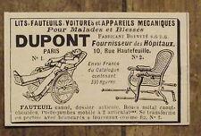 Publicité ancienne Dupont, fauteuil roulant,lits pour malades ,1898,advert
