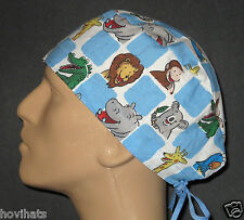 CURIOUS GEORGE AT THE ZOO SQUARES SCRUB HAT RARE!  WITH FREE CUSTOM SIZING!