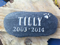 Dog Cat Memorial stone, pet, dog, personalised plaque, grave marker date silver