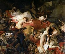 Large art Oil painting portraits The Death of Sardanapalus with horses canvas