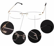 Agstum Titanium Alloy Flexible Men Rimless Hinged Frame Prescription Eyeglasses