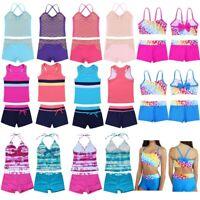 Girls Bathing Suit Printed Swimwear Tops+Bottoms Set Holiday Beachwear Swimsuit