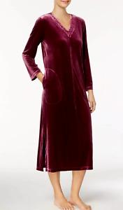 Charter Club~Velour Embroidered V-Neck~Zip Lounge Long Robe~Merlot Purple~XL~NEW