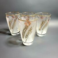 4 Vintage Libbey Gold Wheat Frosted Glasses Tumblers 1960s Retro 8 Ounces