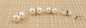 Genuine White Round Freshwater Pearl & Sterling Silver Studs 4mm-10mm UK Seller