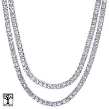 "Men's Women's 24"" / 26"" Iced CZ Double Silver Plated Tennis Chain Necklace SET"