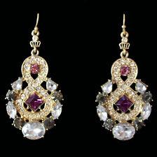 Opulente Chandeliers mit Haken, graue, weisse und lila Kristalle, goldfarben